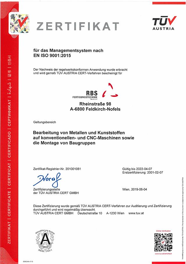 TUEV Zertifikat RBS 2019-2022
